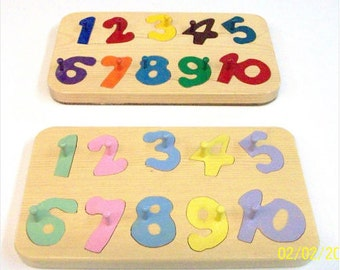 Hand crafted wooden number puzzle