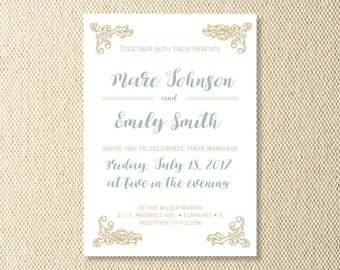 Printable Antique Wedding Invitations