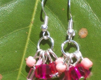 HM Pink Crystal & Sterling Wire Charm Earrings