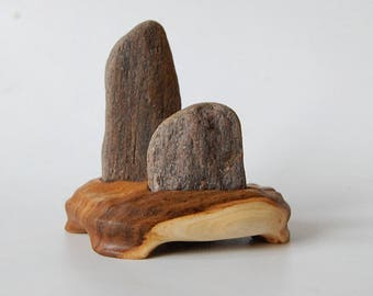 Two-stone Suiseki Coastal Rocks, natural viewing stones on hand carved Elm wood stand