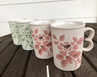 Set of 4 floral stoneware mugs from Japan