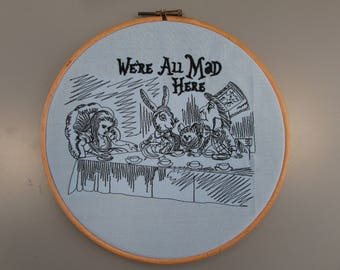 Framed Embroidered Alice in Wonderland Mad Hatters Tea Party Design Wall Art Hanging