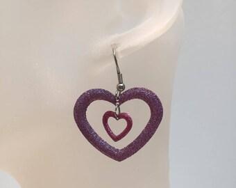 Pink heart charm earrings