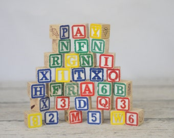 Vintage Wood Blocks Vintage Wood Alphabet Blocks #1