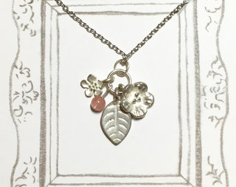 Beauty of Plants Cherry Quartz Necklace, Cute Flower Necklace, Silver Necklace, Elegant Necklace, BFF Gift, Graduation Gift, Christmas Gift