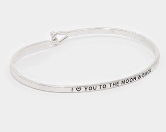 New Hand Stamped I Love You To The Moon and Back Hook Bracelet