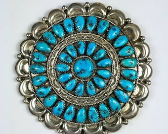 Native American Navajo handmade Sterling Silver cluster Turquoise stone pendant