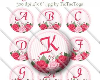Shabby Rose Bottle Cap Digital Images Set 1 Inch Circle Alphabet Alpha A-Z 4X6 - Instant Download - BC486