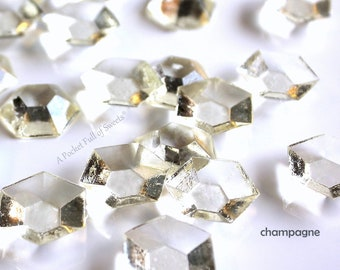 Edible Diamonds, Champagne Color, Wedding Cake Topper, Bride and Co, Cupcake Toppers, Sugar Gems, Edible Diamonds, Bling, Sugar Jewels