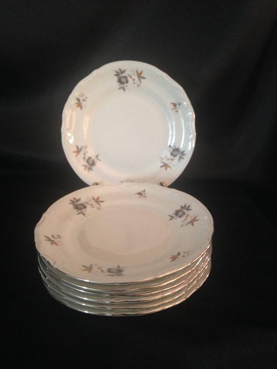 Like this item? & Chodziez-Poland Set 8 CHZ1 Gray and Tan Flowers Platinum