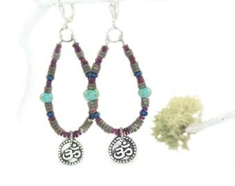 Om Earrings, Hematite & Trade Beads, Boho Spiritual Jewelry