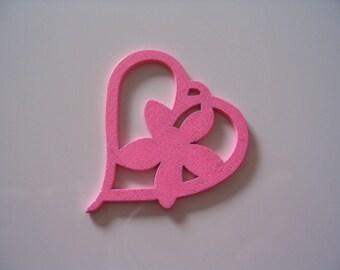 Pink wood heart charm