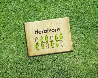 """Vegan Vegetarian Fridge Magnet """"Herbivore"""" Tan 2.5x3.5"""