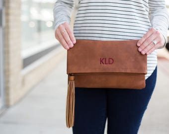 Monogrammed Clutch | Fold Over Clutch | Crossbody | Vegan Leather | Bridesmaid Gift | Charlotte | Mother's Day Gifts