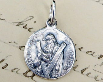 Small St Andrew Medal - Patron of fishermen & unmarried women - Antique Reproduction