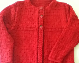 Hand Knitted Girl's Size 4 Sweater