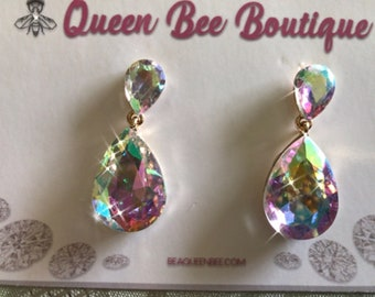 Teardrop AB Crystal Dangles 1 Inch