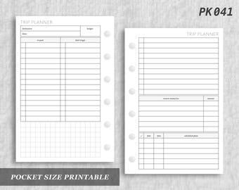 Pocket Size Printable Trip Planner Vacation Travel Digital Download PK041