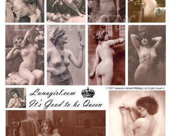 GOOD to be QUEEN digital collage sheet nudes vintage photos, risque French postcards Victorian women girls, Paris art pink ephemera DOWNLOAD