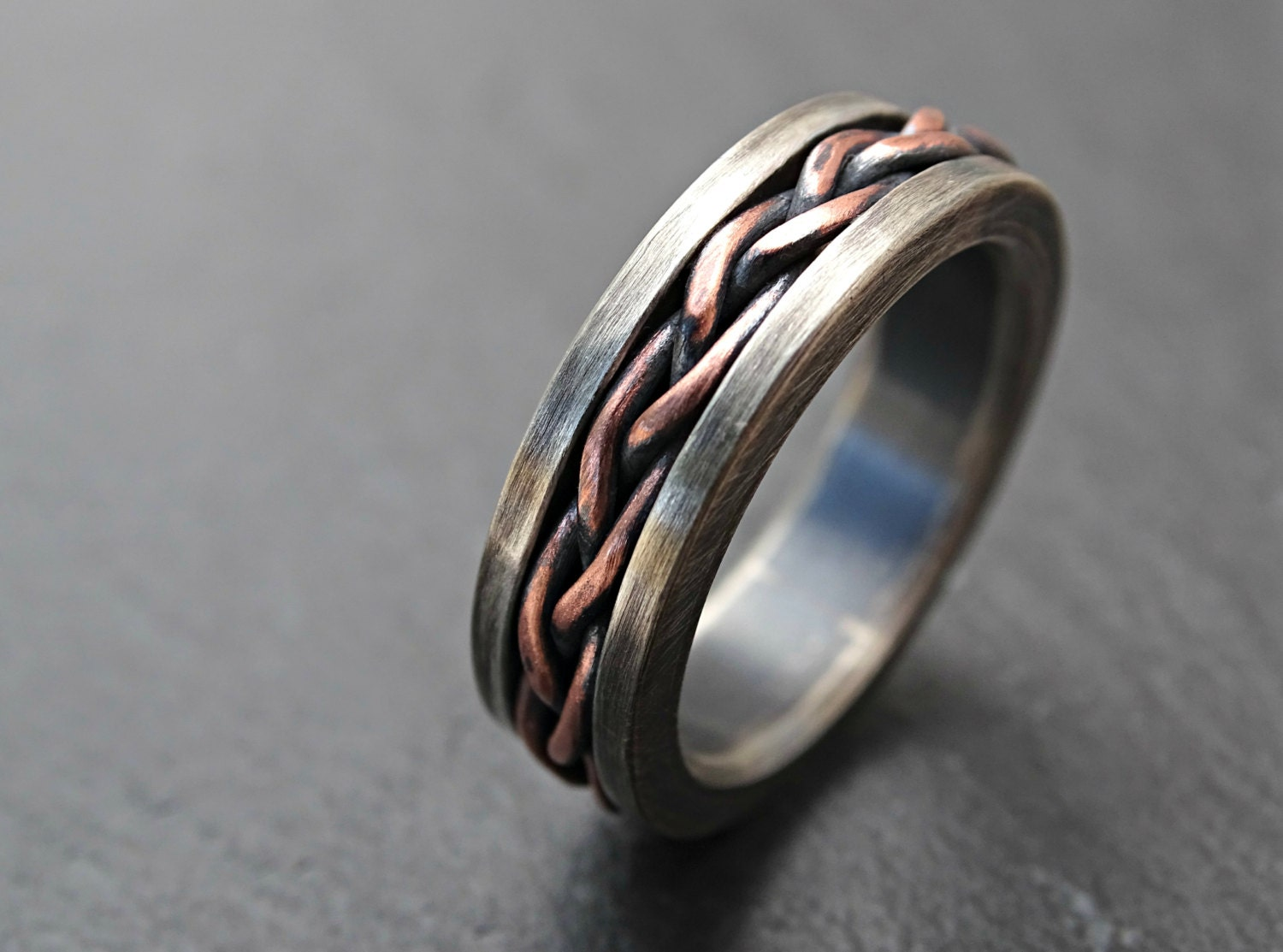 Rustic Braided Ring Silver Copper Viking Mens Ring Two Tone