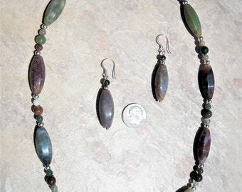 Indian Agate and Sterling Necklace Set