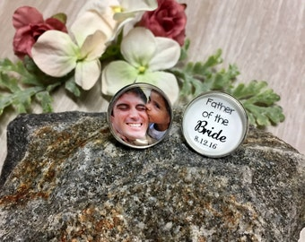 SILVER ROUND Custom Cufflinks-1 Photo&1 Quote (Father of the Bride/Groom)-Wedding Keepsake-In Memory-Loss of a Loved One-Photo Jewelry-Gift