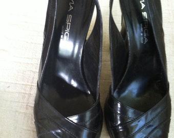 Black Leather 1940's Inspired Vintage VIA SPIGA Sling Back Heels 7.5/8