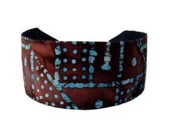 Bargain Headbands, Turquoise and Chocolate Brown Geometric  Batik Inspiration, Stunning Headband