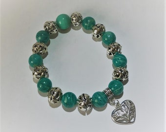 Amazonite Gemstone Beaded Bracelet with Heart Charm