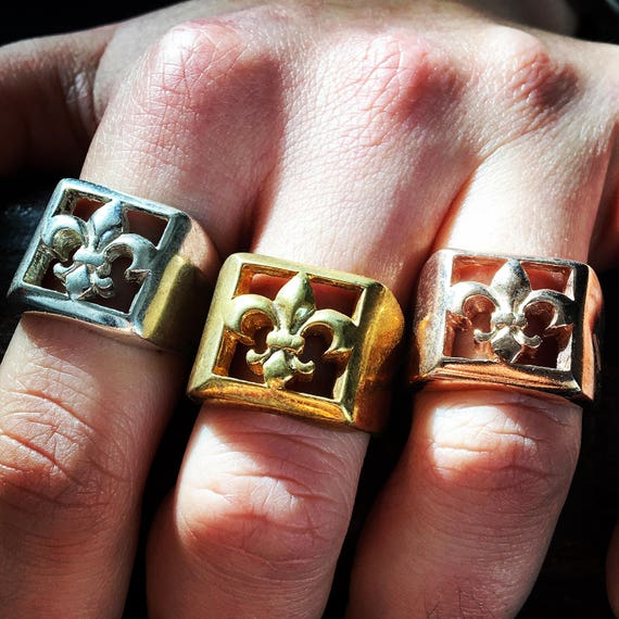 Etherial Jewelry - Rock Chic Talisman Luxury Biker Custom Handmade Artisan Pure Sterling Silver .925 Fleur De Lis Crusader Biker Ring