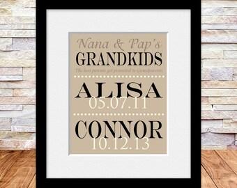 Custom Designed Grandparent Gift, Grandparents Gift, Grandchildren Names and Birthdate Print, Anniversary Gift, Christmas Gift