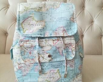 digital printed fabric backpack bag, world map backpack, world map bag, worldmapbag,travler bag