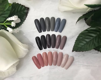 The Neutrals | Press On Nails | Glue On Nails | Fake Nails | Coffin or Ballerina Nails | Grey, Gray, Brown & Nude Nails | Glossy or Matte
