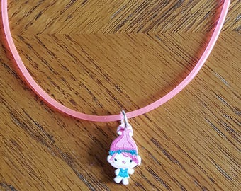 Trolls Inspired Poppy Rubber Cord Necklace