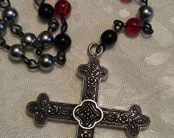 Black Obsidian silverand red bead glass skullRosary necklace  (ro-27-002)