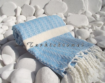 Turkishtowel-Highest Quality Pure Organic Cotton,Hand Woven,Bath,Beach,Spa,Yoga Towel or Sarong-Mathing-Natural Cream and Turquoise