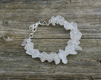 Raw White Quartz Bracelet ~ Clear Crystal ~ Semi Precious Stones ~ Wedding Wear ~ One of a Kind Jewelry ~ Eternally Best Dressed ~ Bohemian