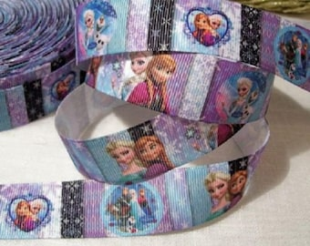 Printed grosgrain Ribbon * 25 mm * Queen of snow Cabochon heart star - sold by the yard