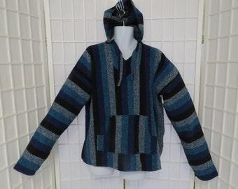 Vintage Cotton / Blend Blue, Black & Gray Stripe Indie / Boho Hoodie Pullover / Sz; Medium 40/42