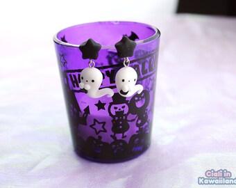 Kawaii Spooky Ghost Earrings with black star   stud earrings   Creepycute   Halloween jewelry