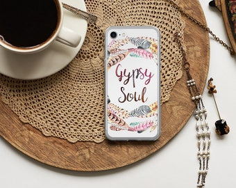 GYPSY SOUL iPhone 7 8 X Case, iPhone 7 Plus Case, Boho Watercolor Feathers Wreath, Stevie Nicks White iPhone 6s, iPhone 6 plus