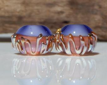 Lampwork Bead Pair Organic Purple Pink Peach Silver Glass Earring Beads Earring Pairs