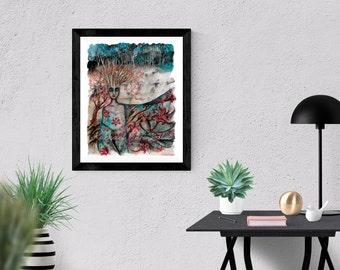 Giclée Art Print - Mixed Media Art - Wrapped Up In Song - Splatter Art - Ocean Waves - By Rachael Caringella  Tree Talker Art