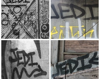Jedi Graffiti Star Wars Urban Set of Four 4 Square Photographs Fine Art Photo Print Home Wall Decor by Rose Clearfield on Etsy