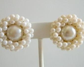 TRIFARI Large White Pearl Cluster Clip Earrings