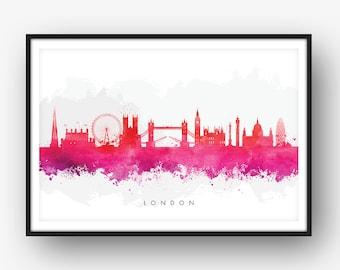London Skyline, London Cityscape England, Art Print, Wall Art, Watercolor, Watercolour Art Decor [SWLDN09]