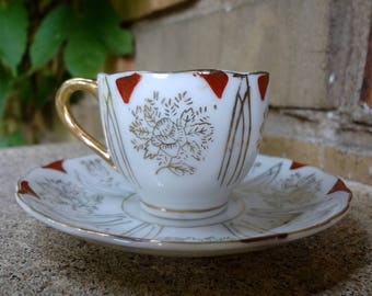 Antique Espresso Cup And Saucer // Red And Gilt // Demitasse Cup And Saucer // Vintage Tea Cup Set