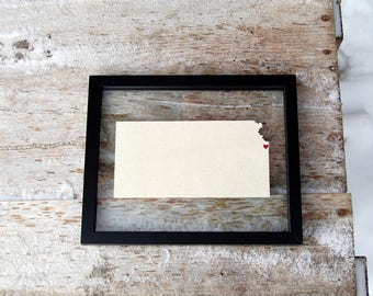 KANSAS LOVE 11x14 Map Gift  * Custom Framed Handmade Canvas Art * State & City * Moving Birthday Wedding Anniversary Graduation Engagement