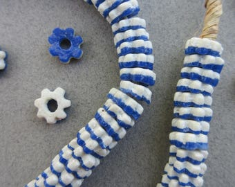 Blue & White Ghana Glass Flower Disk Beads (9x3mm) [67527]