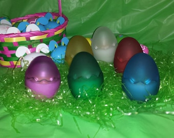 Frosted Glass Egg Candles, Frosted Egg Easter Candle, Easter Candle, Egg Candle